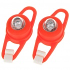 Colorful Light 2-Mode Tie-On Bike Light Keychains - Red (Pair / 2 x CR2032)