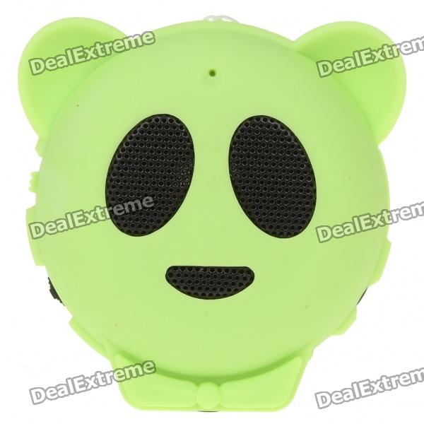 Mini Cute Panda Style USB Rechargeable MP3 Music Speaker with TF Slot - Green tt tf ths 02b hybrid style black ver convoy asia exclusive