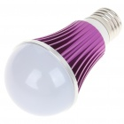 E27 5W 5-LED Slots Aluminum Bulb Shell - Purple + White