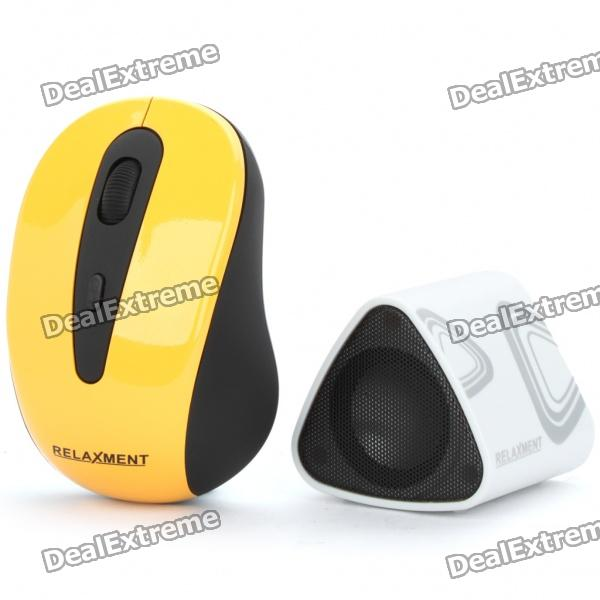 2.4GHz Wireless 800/1200DPI USB Optical Mouse + USB Rechargeable Wireless Music Speaker w/ Receiver