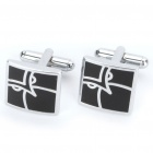 Stylish Face Pattern Cuff Links - Black + Silver (Pair)