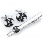 Compact Black and White Metal Cuff Links + Tie Pin Set (Pair)