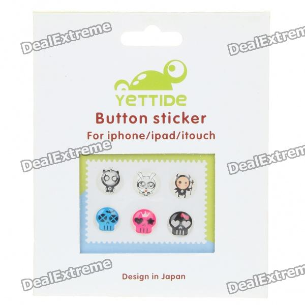 Cute Fashion Home Button Stickers for iPhone/iPad - Random Style (6-Piece Pack)