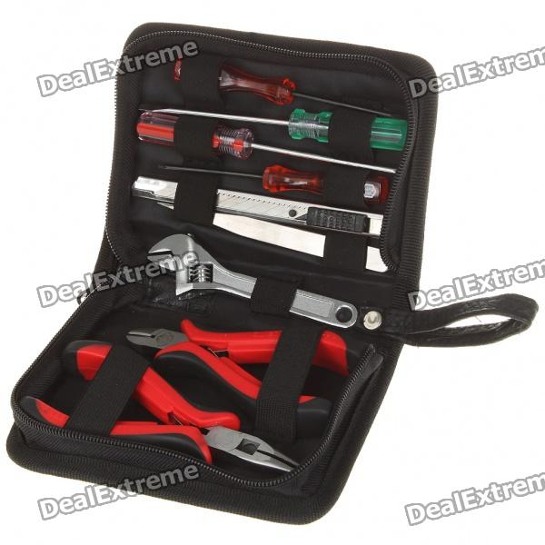 9-in-1 Screwdrivers + Knife + Tweezers + Wrench + Pliers Tool Kit w/ Carrying Pouch
