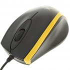 USB Wired 800DPI Optical Mouse - Black + Yellow (140CM-Cable)