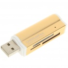 Unique Lighter Shaped USB 2.0 M2/SD/MMC/SDHC/DV/MS Pro Duo/MS Duo/TF Card Reader - Golden (Max 16G)