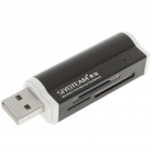 Unique Lighter Shaped USB 2.0 M2/SD/MMC/SDHC/DV/MS Pro Duo/MS Duo/TF Card Reader - Black (Max 16G)