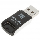 Ultra-Slim USB 2.0 TF/Micro SD Card Reader w/ Cell Phone Strap - Black (Max 32GB)