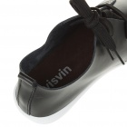 Visvin Stylish Retro Soft Leather Leisure Shoes for Men - Black (EU Size-41)