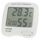 "3.7"" LCD Digital Thermometer/Humidity Meter - White (1 x AAA)"