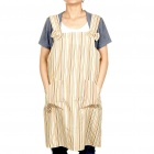 Protective Kitchen Cooking Washing Dishes Stripe Apron with 2 Pockets