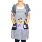 Protective Kitchen Cooking Washing Dishes Plaid Apron with 2 Pockets