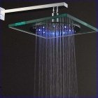 8-LED Blue & Red Light Water Temperature Visualizer Sensor Square Shower Head (8')