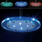8-LED Blue & Red Light Water Temperature Visualizer Sensor Round Shower Head (8')