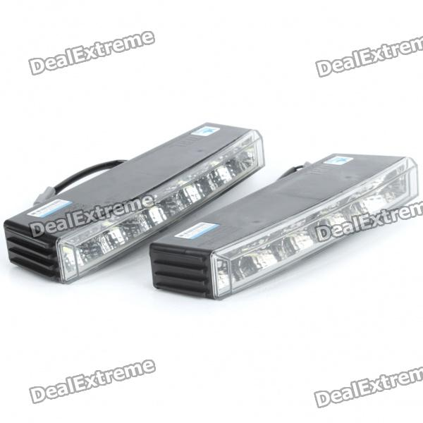 2W 6000K 150-Lumen 10x5050 SMD LED White Light Daytime Running Lamps for Car (Pair/DC 12V) 2w 6000k 150 lumen 10x5050 smd led white light daytime running lamps for car pair dc 12v
