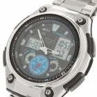 Fashion Water Resistant World Time Quartz Analog Digital Wrist Watch - Silver + Black (1xCR2025)