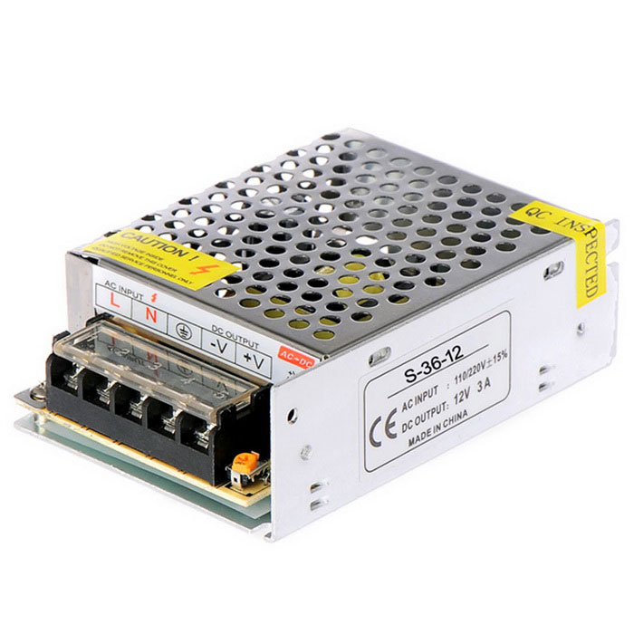 12V 3A Regulated Switching Power Supply (100~240V) 600w 15v 40a output 110v input single output switching power supply for led strip light ac to dc smps
