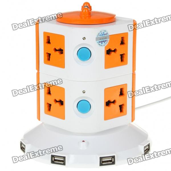 Universal 8-Outlet Sockets + 5-USB Outlet Stand Electric Power Strip - White + Orange