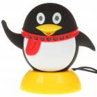 Cute Penguin Style 2-in-1 300KP CMOS PC USB Webcam + Speaker w/ External Microphone Set - Black