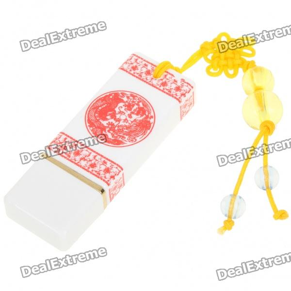 Classic Chinese Porcelain Style USB 2.0 Flash Drive - White + Red (4GB) skull style usb 2 0 flash drive disk khaki red 4gb