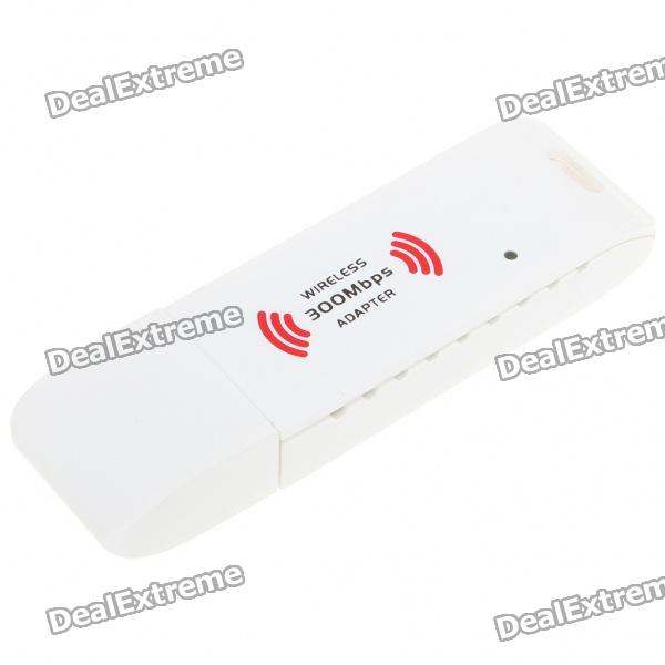 2.4GHz 802.11 b/g/n 300Mbps USB 2.0 WiFi WLAN Network Adapter - White