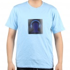 Sound and Music Activated Headset Spectrum VU Meter Velcro EL Visualizer T-shirt - L (2 x AAA)