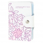 Stylish Genuine Leather Card Holder - White + Pink (Holds 24-Piece)
