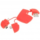 Compact USB to Mini USB/Micro USB/DC 2.0mm Charging/Data Cable Adapter - Red
