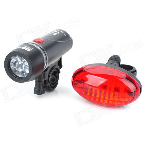 Fiets Wit 5-LED Head Light zaklamp zaklamp + Red 5-LED-achterlicht Set met Mount