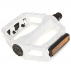 Replacement Aluminum Mountain Road Bike Bicycle Platform Pedals w/ Reflectors - White (Pair)