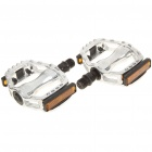 Replacement Aluminum Mountain Road Bike Bicycle Platform Pedals w/ Reflectors - Silver (Pair)