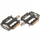 Replacement Aluminum Mountain Road Bike Bicycle Platform Pedals w/ Reflectors - Black (Pair)