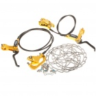 HYGIA Aluminum Alloy Mountain Road Bicycle Hydraulic Disc Brakes w/ Rotors - Yellow (Front + Rear)