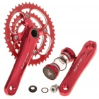 SHUN Aluminum Alloy Chainset Crankset w/ Ball Bearing for 27 Speed Mountain Road Bicycle - Rose Red