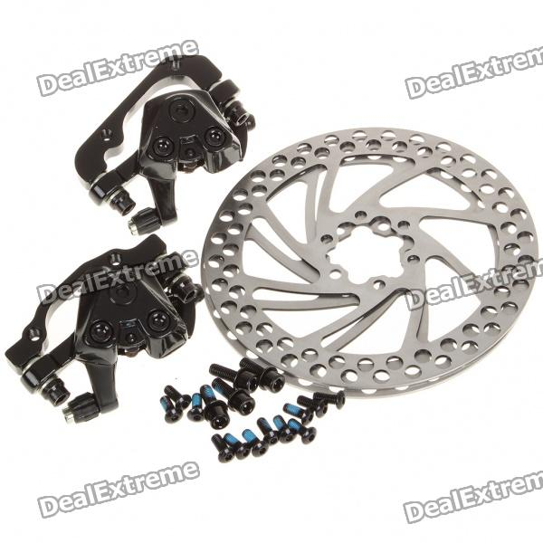 Aluminum Mountain Road Bicycle Disc Brakes w/ Rotors - Black (Front + Rear) brand front brake disc rotors for yamaha 2007 2011 yzf r1