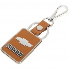 Leather + Stainless Steel Chevrolet Logo Keychain