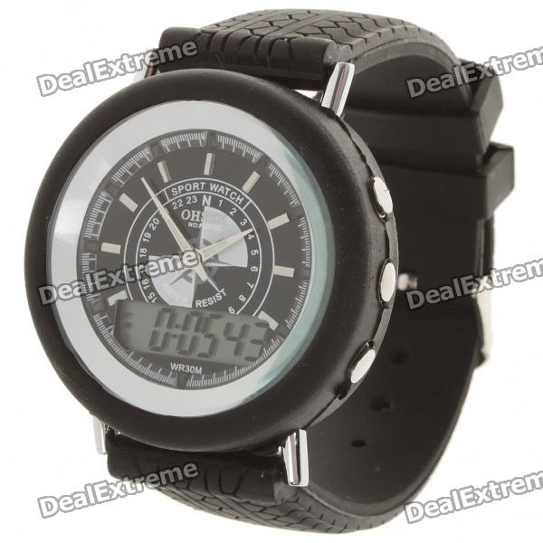 Dual Display Pointer and Digital Water Resistant Wrist Watch w/ Colorful LED Light (Button Battery)