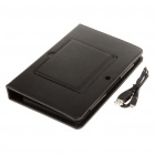 61-Key Bluetooth V2.0 Wireless Keyboard w/ PU Leather Case for BlackBerry Playbook - Black