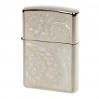 Genuine Zippo Flowers Pattern Fuel Copper Fluid Lighter - Silver