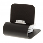 Stylish Aluminum Alloy USB Charging Stand w/ Retractable Cable for iPhone 4 - Black