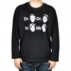 The Big Bang Theory Dr & Mr Faces Long Sleeve Cotton T-Shirt - Black (Size XL)