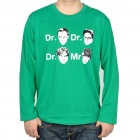 The Big Bang Theory Dr & Mr Faces Long Sleeve Cotton T-Shirt - Green (Size XL)