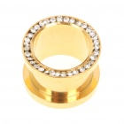 16.0mm 316L Surgical Steel Rhinestone Double Flare Tunnels Ear Plug - Golden