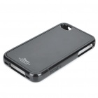 Stylish Protective Back Case w/ Screen Guard & Cleaning Cloth for iPhone 4 - Black