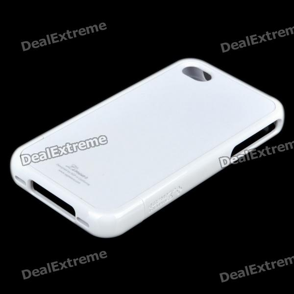 Stylish Protective Back Case w/ Screen Guard & Cleaning Cloth for iPhone 4 - White