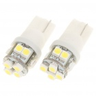 T10 0,6 W 6500K 30-Lumen 10-SMD LED White Light Bulbs für Car (Pair / DC 12V)