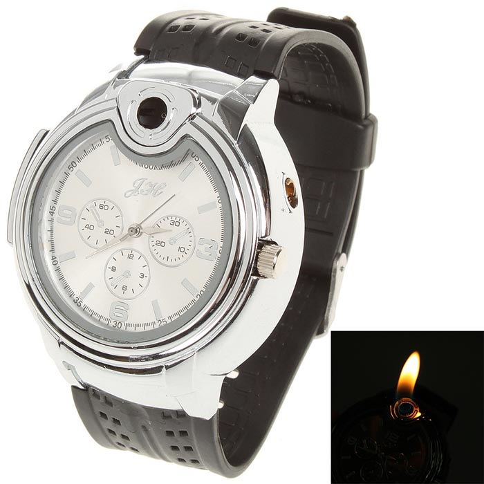Cool 2-in-1 Water Resistant Quartz Wrist Watch w/ Butane Flame Lighter - Silver (1 x SR626)