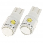 T10 2.5W 6500K 60-Lumen 4-SMD LED White Light Bulb (Pair/DC 12V)