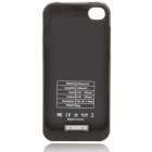 1400mAh Rechargeable External Battery Back Case with Cleaning Cloth for iPhone 4 - Black