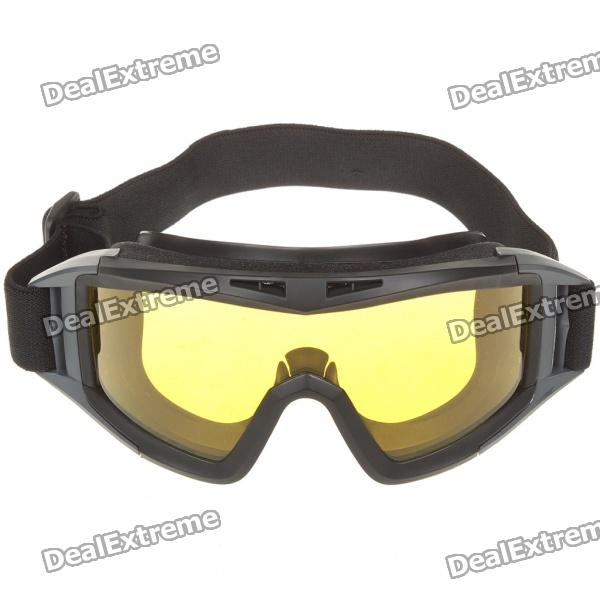 Tactical Outdoor War Game UV400 Protection Desert Locust Goggles - Black + Yellow